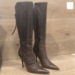 Cesare Paciotti Brown All Leather High Boots